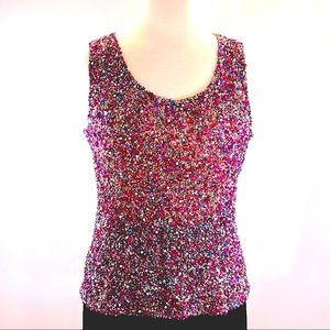 BLACK Sequin and Bead Gorgeous Party Top sz M